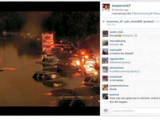 Colin Kaepernick Tweets Pictures Of The Houston Floods With The Hashtag #7tormsComing Like An Idiot