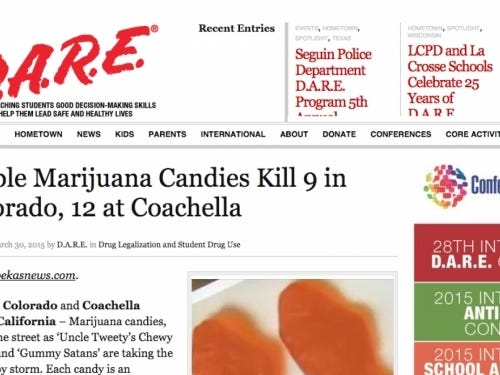 D.A.R.E. Went Off On A Tirade Because It Believed A Fake Story About Nine People Dying From Pot Gummies At Coachella