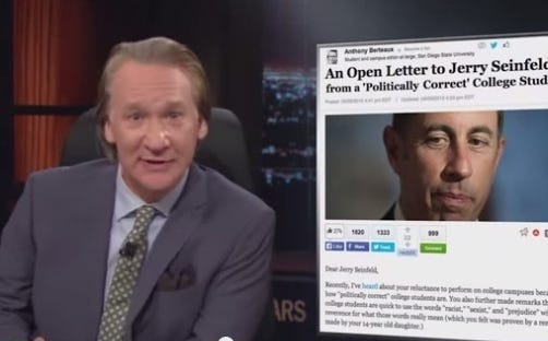 Bill Maher Destroys College Kid Who Wrote An Open Letter To Jerry Seinfeld Telling Him That Comedy Has To Be PC Now