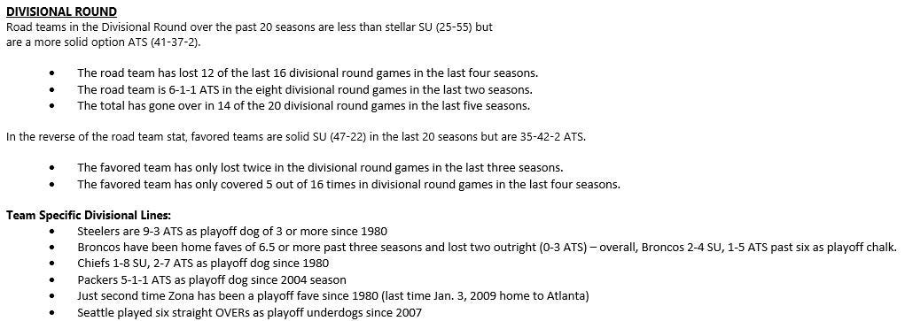 Divisional trends