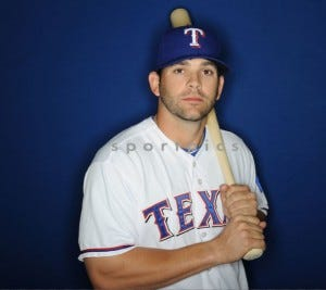 Mitch Moreland  looking like a turtle