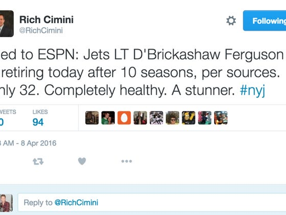 News Completely Out Of Left Field - D'Brickashaw Ferguson Retires