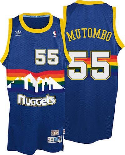 adidas nba denver nuggets 55 dikembe mutombo swingman throwback blue jersey
