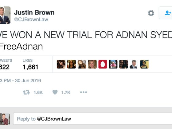 Adnan From Serial Granted A New Trial