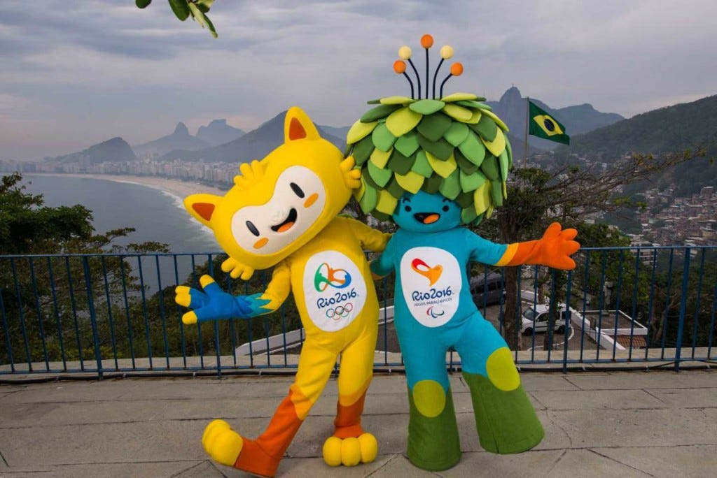 Handout shows the unnamed mascots of the Rio 2016 Olympic and Paralympic Games during their first appearance in Rio de Janeiro