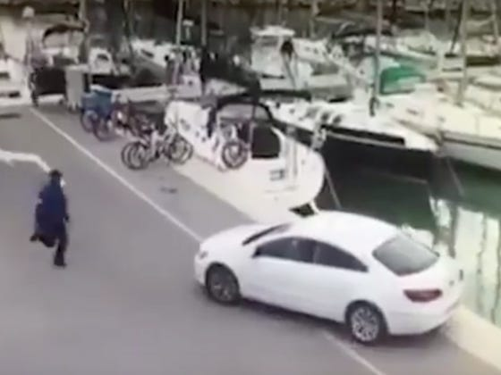 Fisherman Forgets To Use The Hand Brake And Whoops His Car Rolls Into The Water