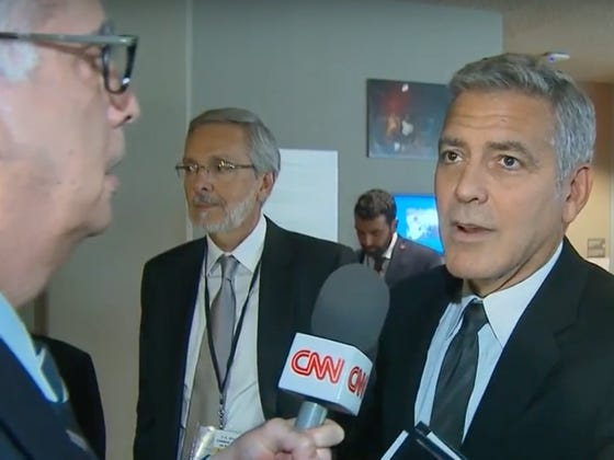 George Clooney Finding Out About The Brad Pitt/Angelina Jolie Divorce From CNN Is Pretty Awkward