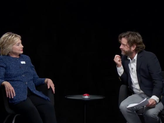 "Zach Galifianakis Brings His Best With Hillary Clinton On ""Between Two Ferns"""