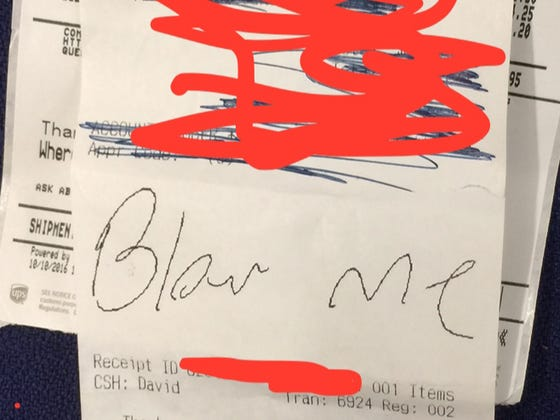 "On A Scale Of 1-10 How Ridiculous Is Intern Tex Signing A UPS Receipt ""Blow Me"""