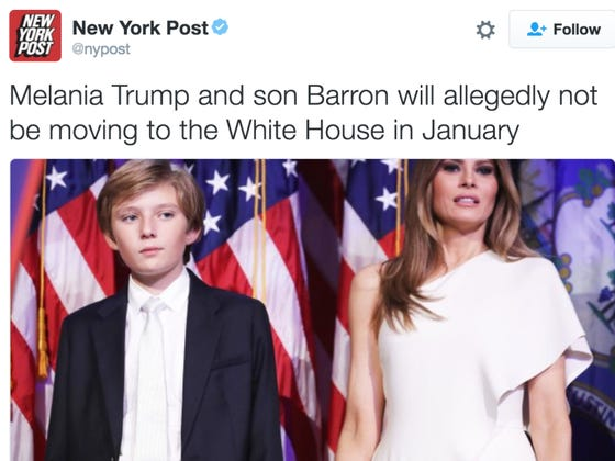 Melania And Barron Trump Will Not Be Moving Into The White House