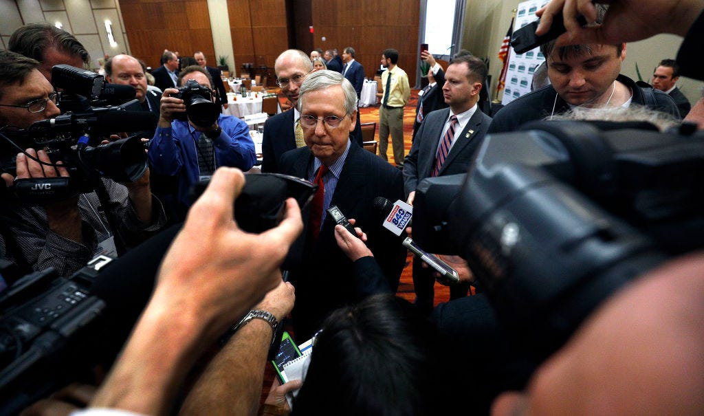 Mitch McConnell Speaks At Louisville-Area Luncheon On Latest Legislative News
