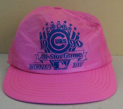 rare-1990-chicago-cubs-hot-pink-all-star-game-workout-day-baseball-cap-snap-hat-9f9a87bbe263255439573857436db266