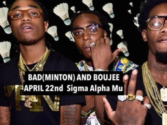 """American University Cancels Fraternity's Fundraiser For Veterans With Mental Health Issues Because """"Bad(minton) and Boujee"""" Was Cultural Appropriation"""