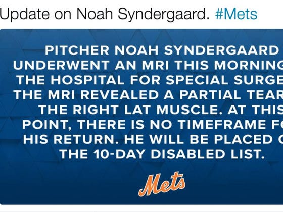 Noah Syndergaard Has A Torn Lat...No Timeframe For His Return