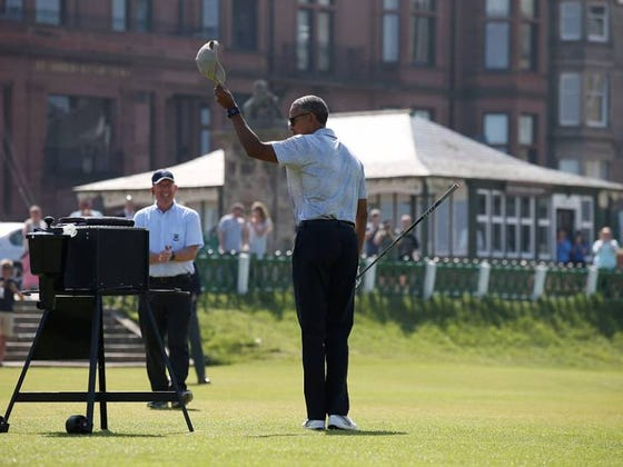 Obama Played Golf At St. Andrews Today As The Barry Chill Out Tour Rolls On