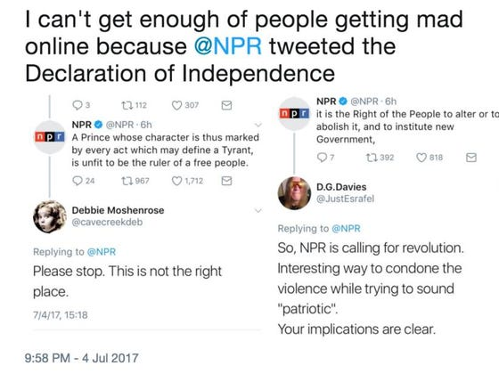 NPR Tweets Out The Declaration Of Independence On The 4th Of July And All Hell Breaks Loose