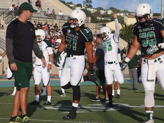 Hawaii Assistant Coach Broke Wrist And Dislocated Elbow After Chest Bumping 6'7, 300 Pound Defensive Lineman