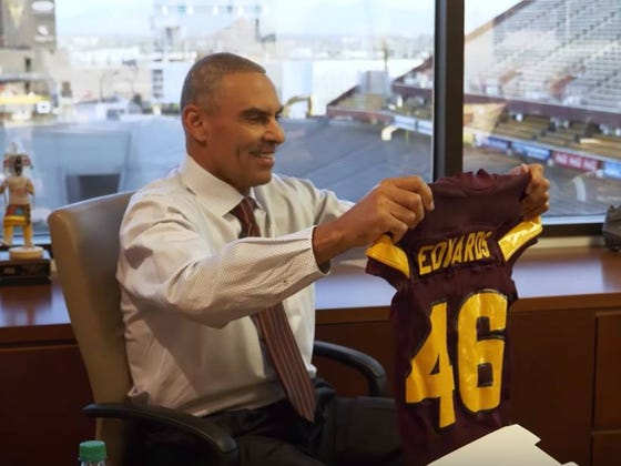 "Herm Edwards Response To Jersey's Arizona State Players Wear? ""Is That A Girl's Jersey?"""