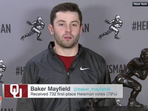 Fire Whoever Made A Hungover Baker Mayfield Do A 9 AM SportsCenter Spot The Night After He Won The Heisman