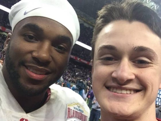 Bandwagon Millennial Fan Takes Off TCU Sweater To Reveal Stanford Shirt To Take Photo With Bryce Love