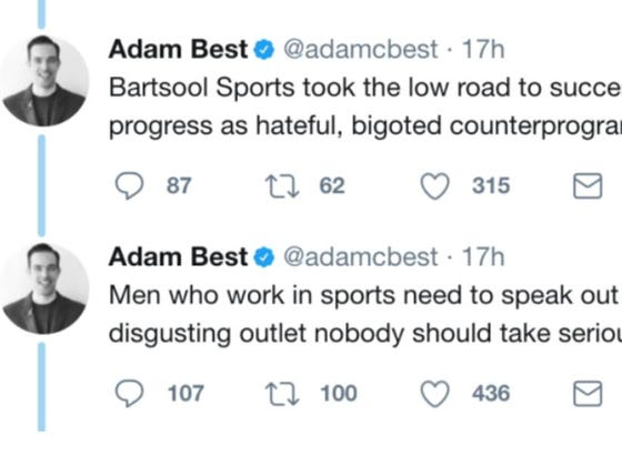 #2) Fansided Founder Adam Best Comes At Barstool....I Promptly Dig Up Dozens Of Sexist/Misogynistic/Sexual Assault Victim-Shaming Tweets From Him