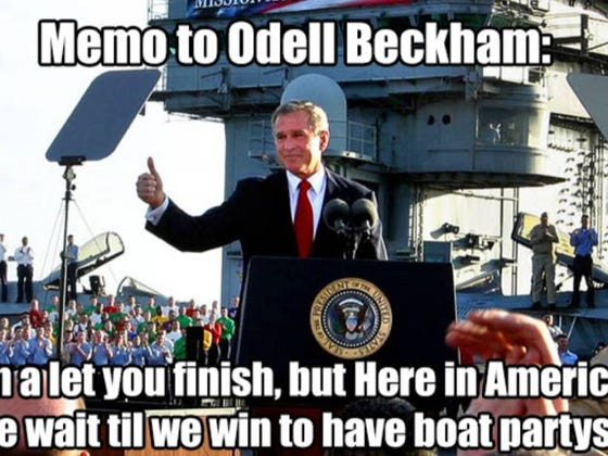 #4) MMBM: Odell Beckham Jr. Could Learn A Lot From George W. Bush On When It's Appropriate To Celebrate On A Boat