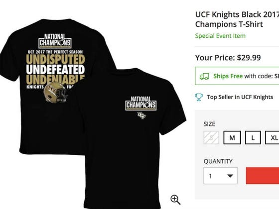 """UCF Releases """"Undisputed, Undeniable"""" National Champions Shirt, Former Oddsmaker Says They'd Be 21 Point Underdogs To Alabama"""