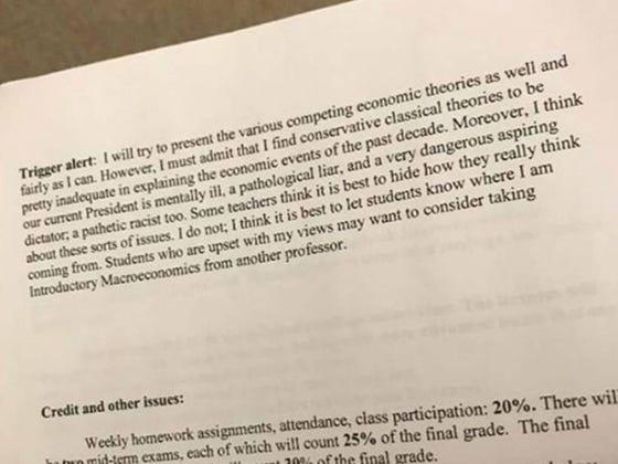 "Connecticut College Econ Professor Includes ""Trigger Alert"" And Calls Trump ""Mentally Ill...Aspiring Dictator"" On Semester Syllabus"