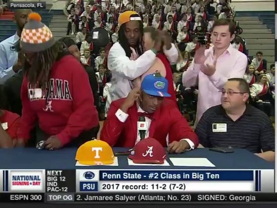 Mother Wearing Tennessee Hat & Alabama Shirt Storms Out Of Gym After Top WR Recruit Picks Florida
