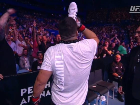 UFC Heavyweight Tai Tuivasa Brutally Knocks His Opponent Out And Celebrates By Chugging Beer Out Of A Fan's Shoe