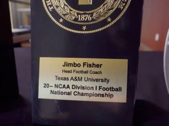 Texas A&M Chancellor Presents Jimbo Fisher With A Dateless National Championship Plaque