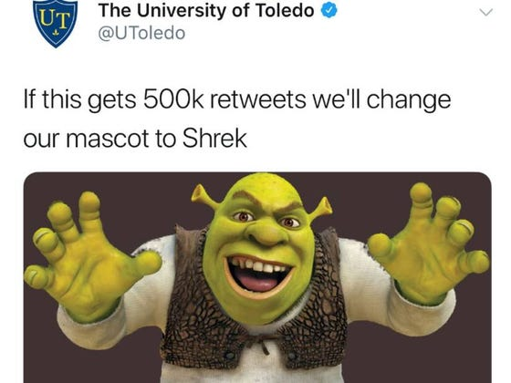 #NotMyMACtion: Toledo Tweets Out It Will Change Mascot To Shrek If It Gets 500k Retweets, Tweet Goes Viral, So Toledo Deletes Tweet