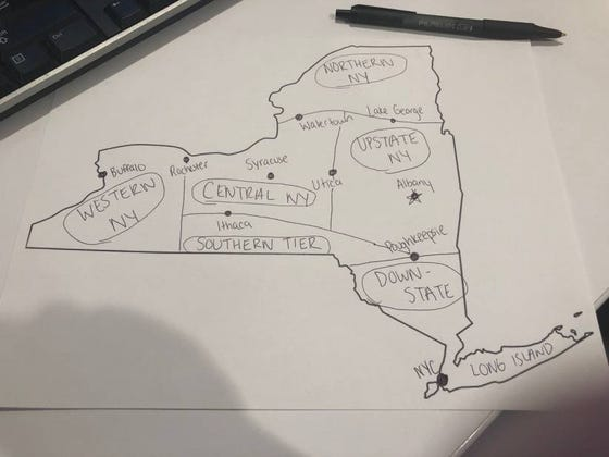 We Finally Have The Perfect Map Of New York State That Defines What Is Upstate, Downstate, Central New York, And Western New York
