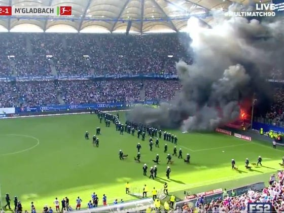 Hamburg Soccer Was Relegated For The First Time In Its 55 Year History So Fans Reacted Appropriately and Tried To Burn The Stadium Down