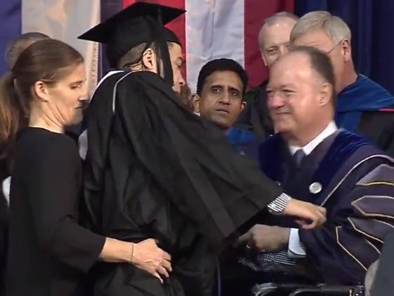 Paralyzed Georgetown Football Player Walks Across Graduation Stage For First Time Since 2015 Hit