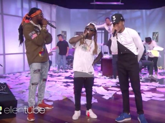 Let's Take A Moment To Appreciate The Time Lil Wayne Went On Ellen, Rapped About Taking Percocets And Exploded Chance The Rapper's Brain