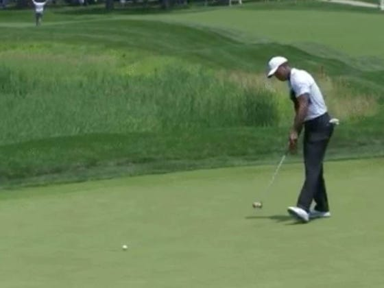 Tiger's Made Four Birdies In A Row, He's Walking In Putts And He's One Stroke Off The Lead At The Quicken Loans National
