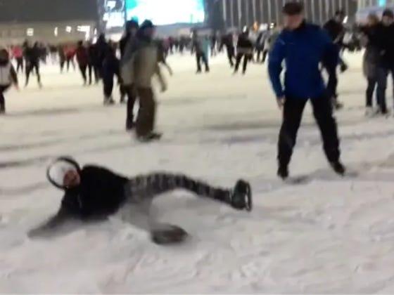 Guy Completely Batches Backflip On Ice Skates
