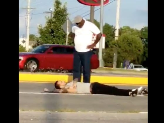 Old Man Knocks Young Dude Out Then Stands Over Him In The Most Disrespectful Way Ever