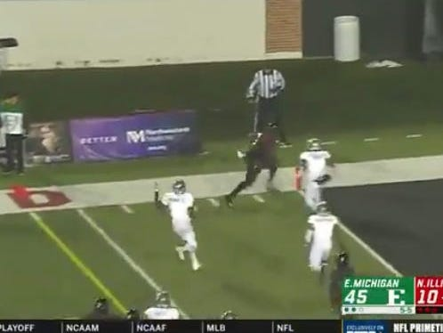 NIU scores with under a minute to play on 4th down to hit the over (57.5)